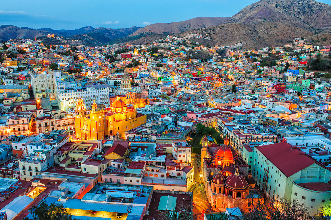 Guanajuato, Mexico at dusk from a nearby hill.