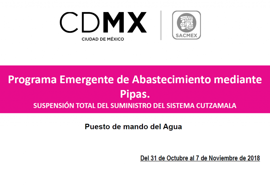 Programa Emergente Corte Cutzamala. Noticias en tiempo real